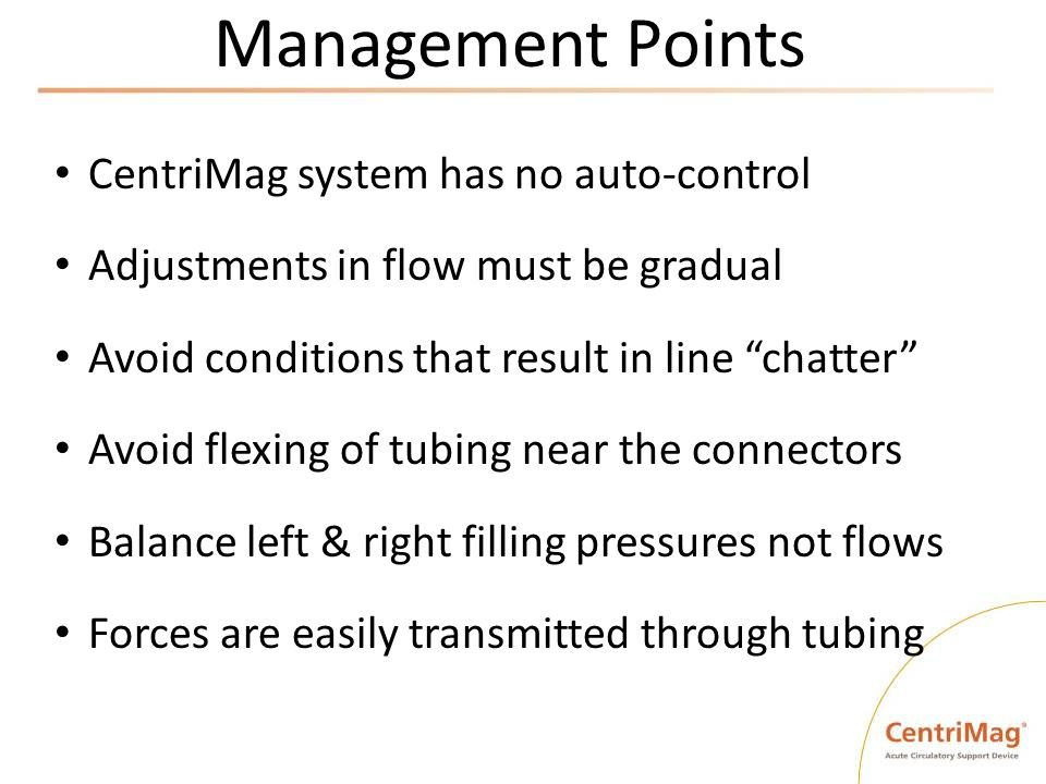 Management Points CentriMag system has no auto-control