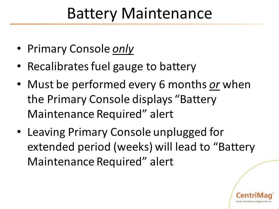 Battery Maintenance Primary Console only