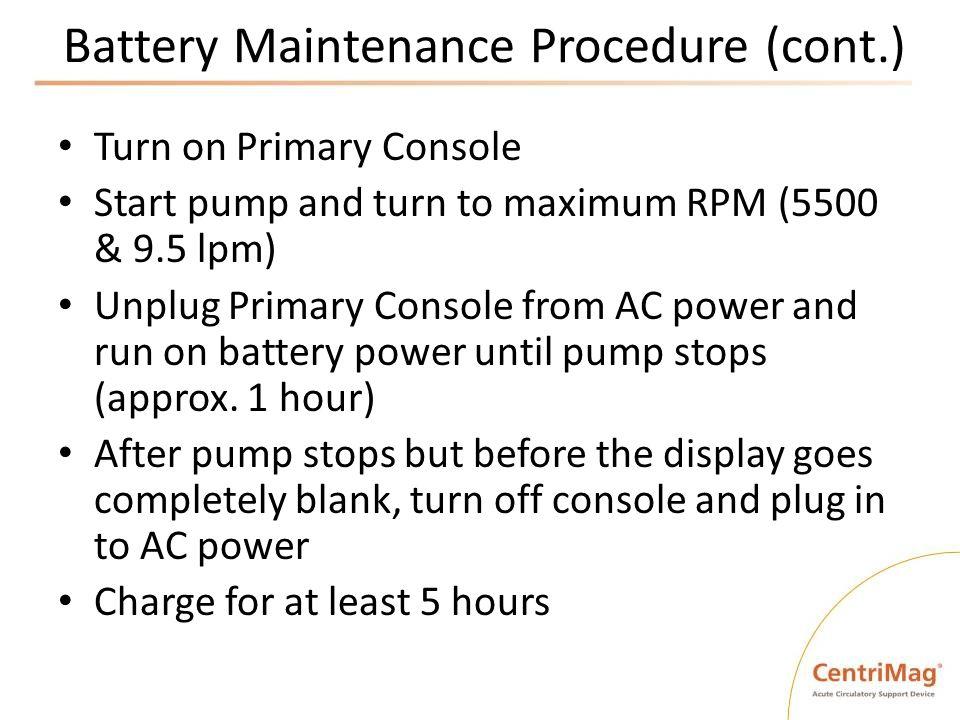 Battery Maintenance Procedure (cont.)
