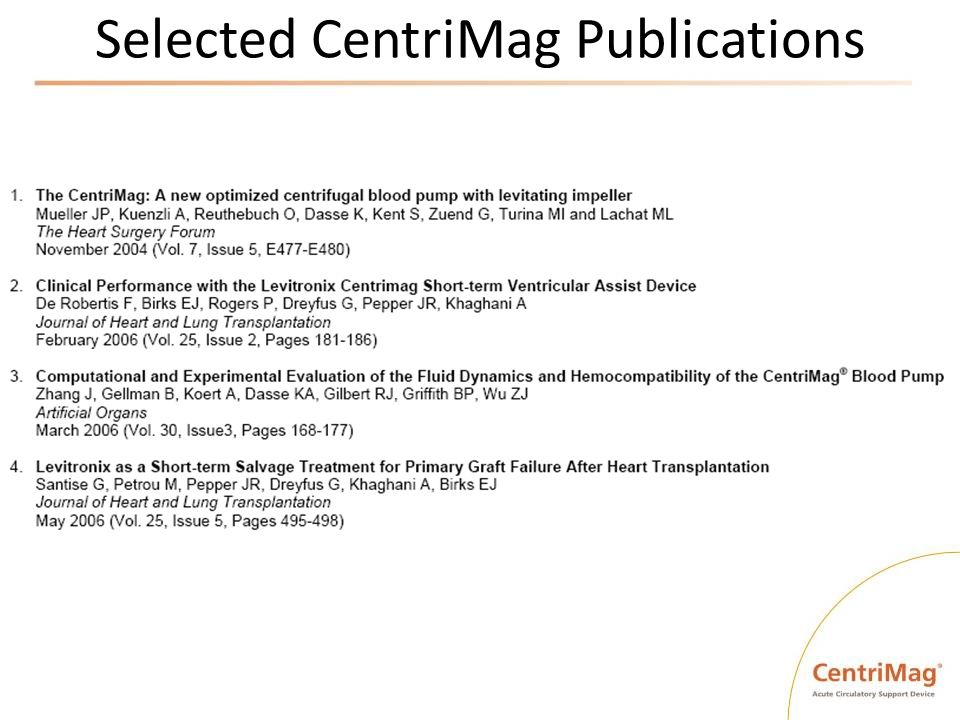 Selected CentriMag Publications