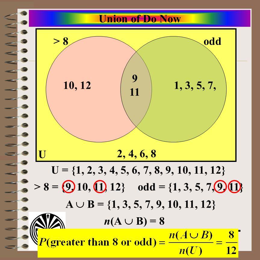 Union of Do Now > 8. odd. 9 11. 10, 12. 1, 3, 5, 7, U. 2, 4, 6, 8. U = {1, 2, 3, 4, 5, 6, 7, 8, 9, 10, 11, 12}