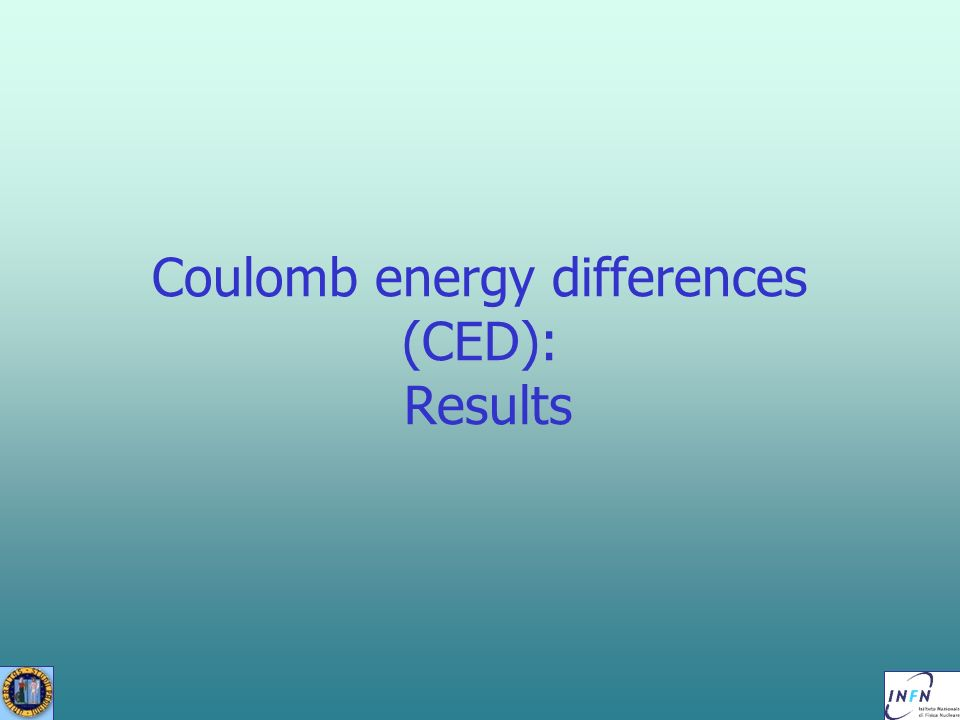 Coulomb energy differences (CED): Results