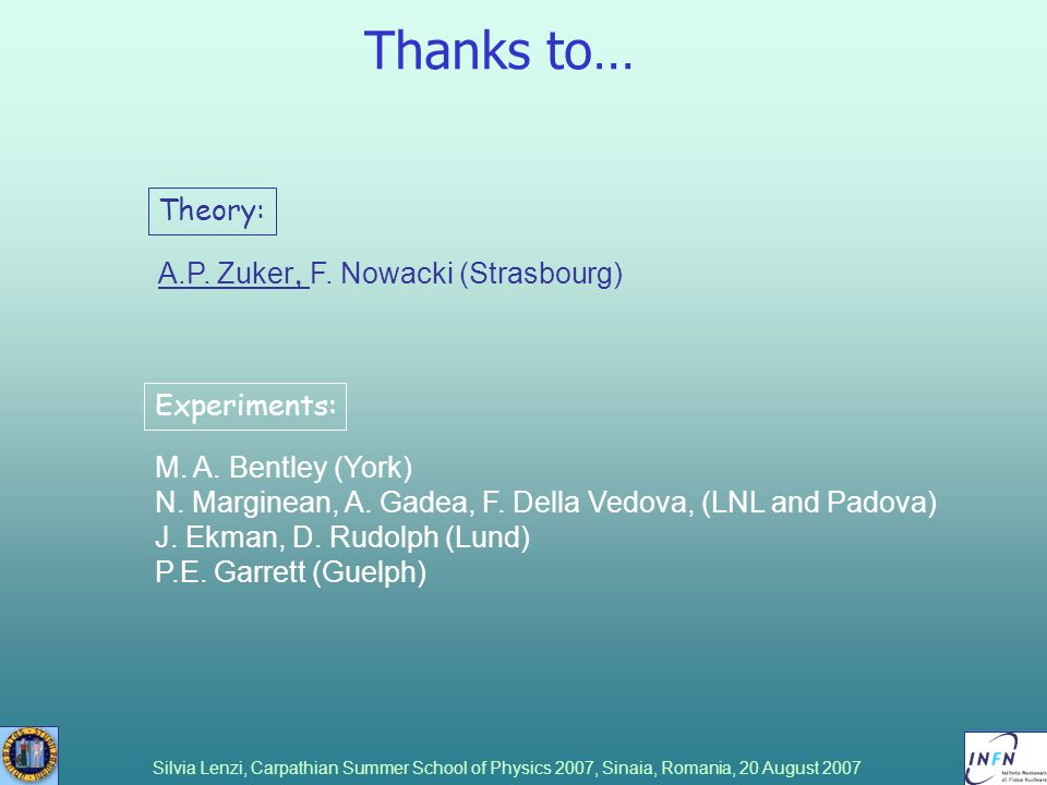 Thanks to… Theory: A.P. Zuker, F. Nowacki (Strasbourg) Experiments: