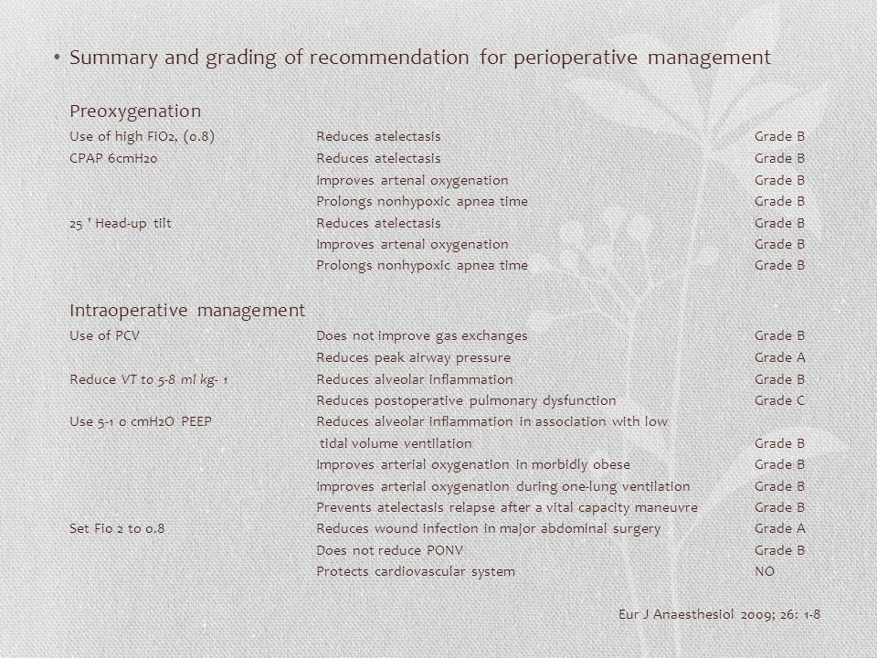 Summary and grading of recommendation for perioperative management