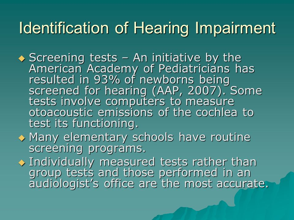Identification of Hearing Impairment