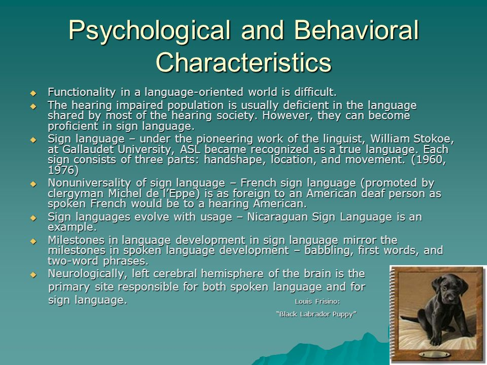 Psychological and Behavioral Characteristics