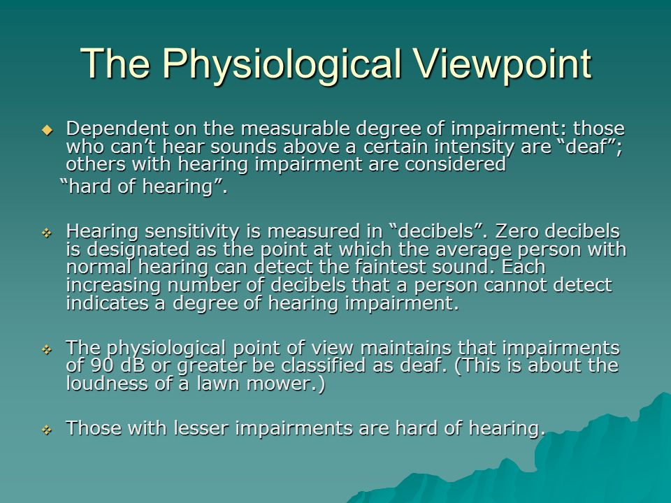 The Physiological Viewpoint