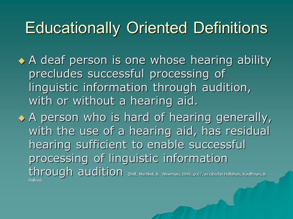 Educationally Oriented Definitions