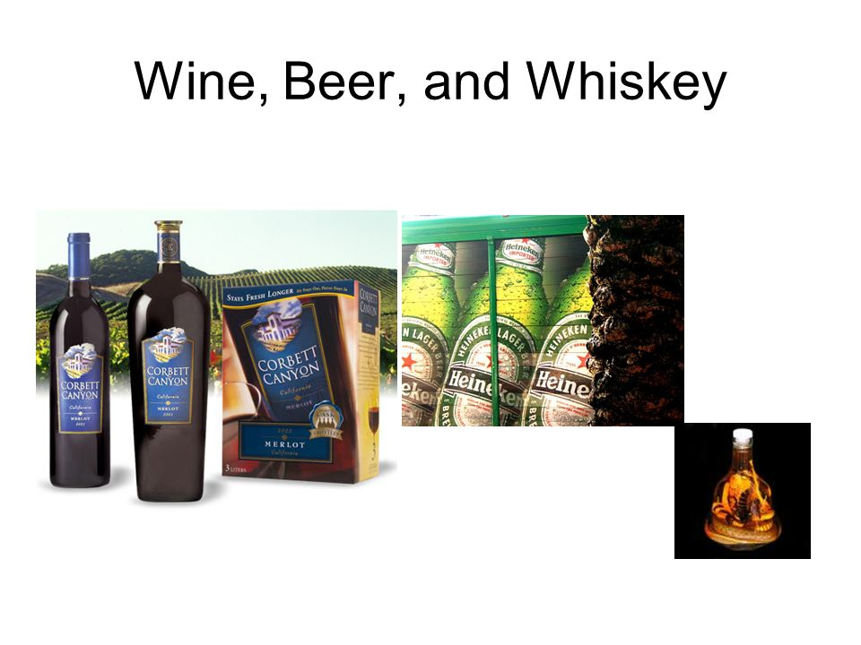 Wine, Beer, and Whiskey
