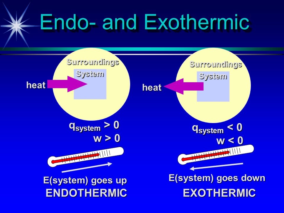 Endo- and Exothermic qsystem > 0 w > 0 qsystem < 0 w < 0