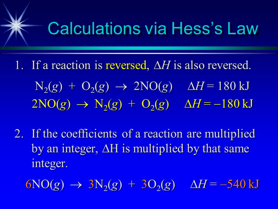 Calculations via Hess's Law