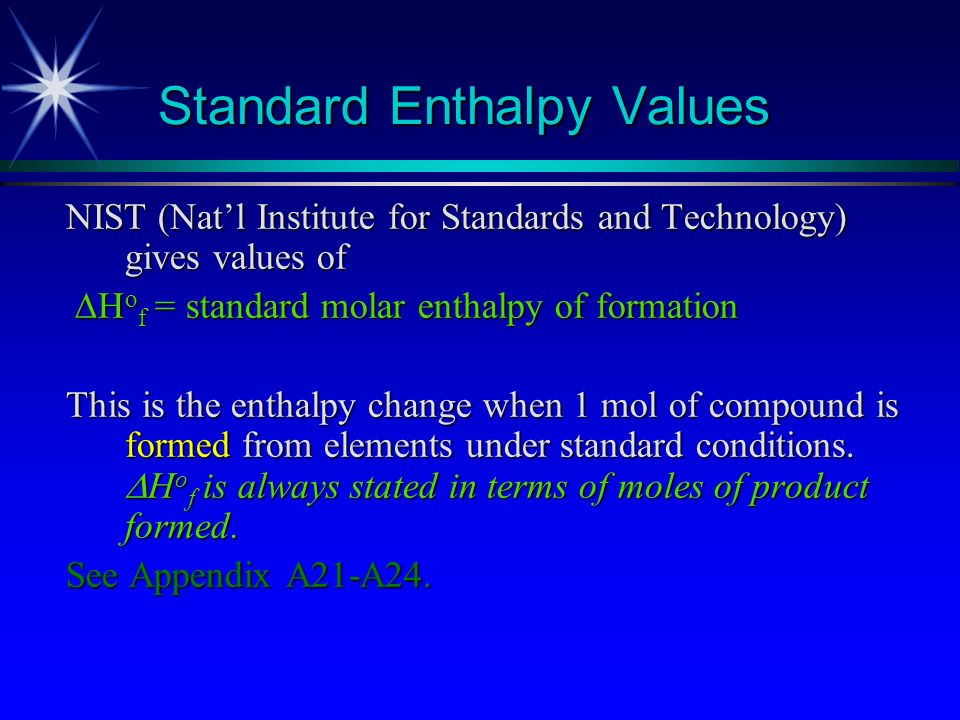Standard Enthalpy Values