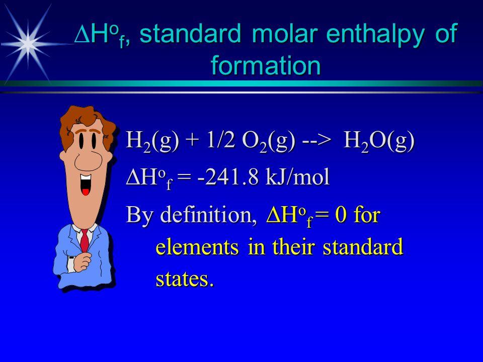 DHof, standard molar enthalpy of formation