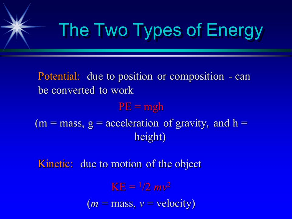 (m = mass, g = acceleration of gravity, and h = height)