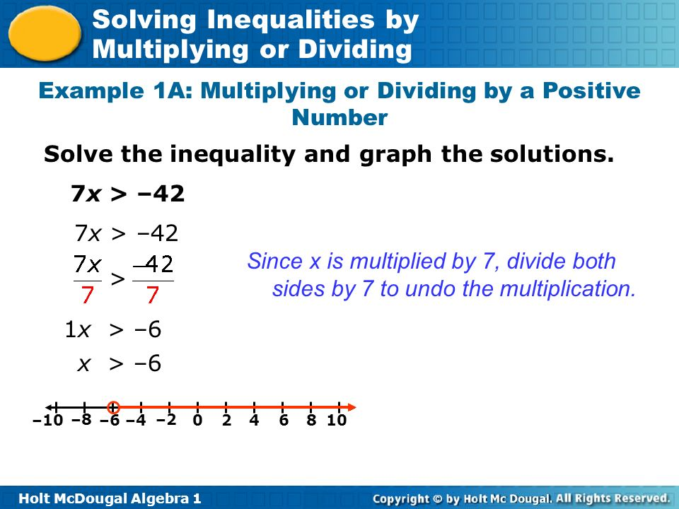 Example 1A: Multiplying or Dividing by a Positive Number