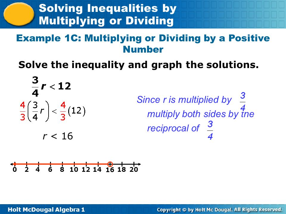 Example 1C: Multiplying or Dividing by a Positive Number