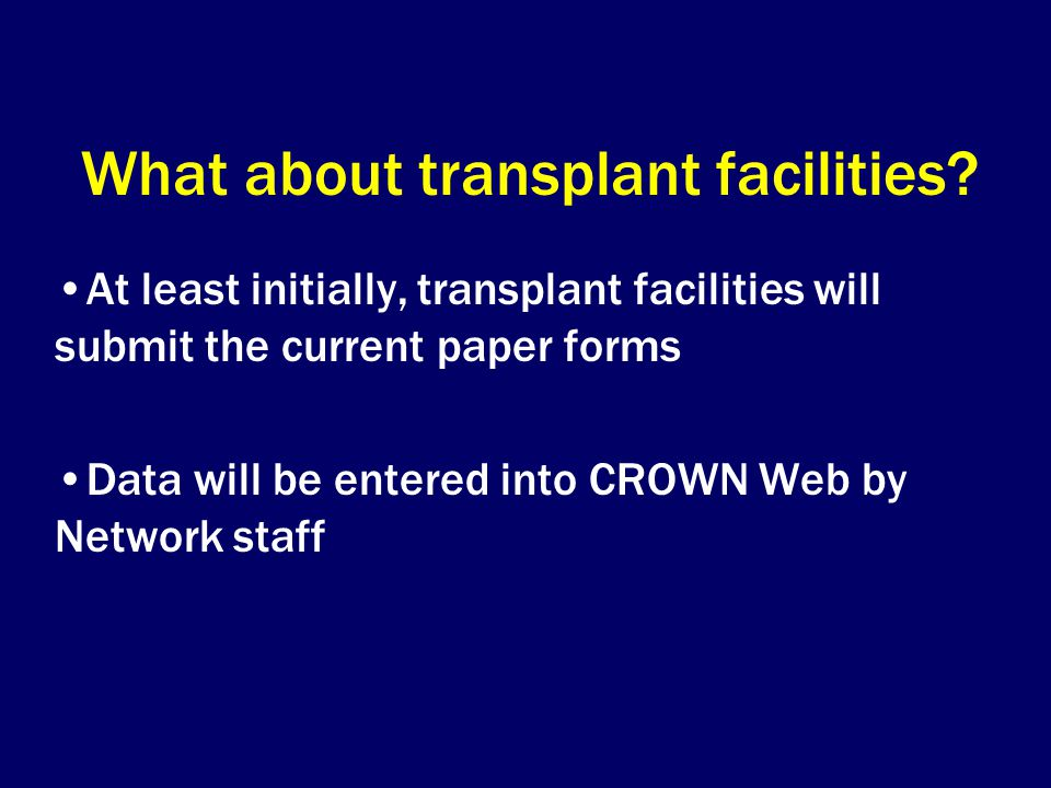 What about transplant facilities