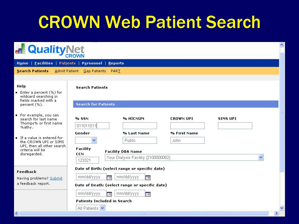 CROWN Web Patient Search