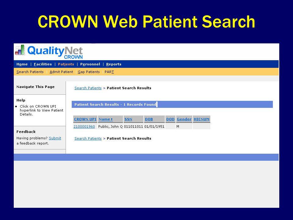 CROWN Web Patient Search