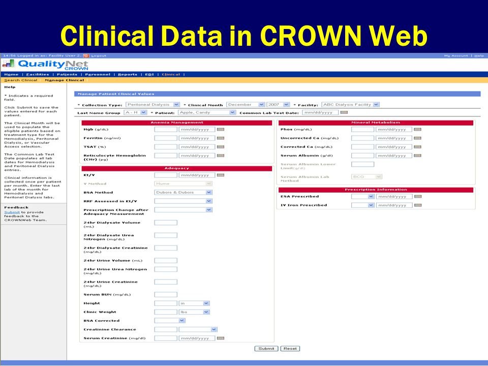 Clinical Data in CROWN Web