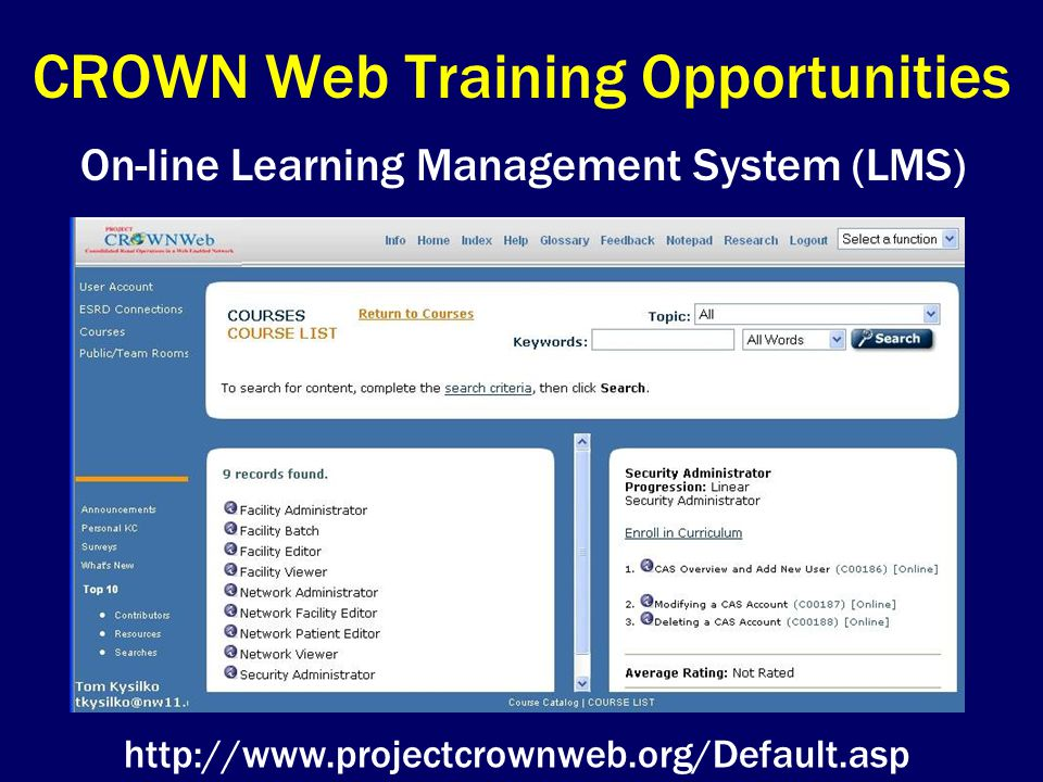 CROWN Web Training Opportunities