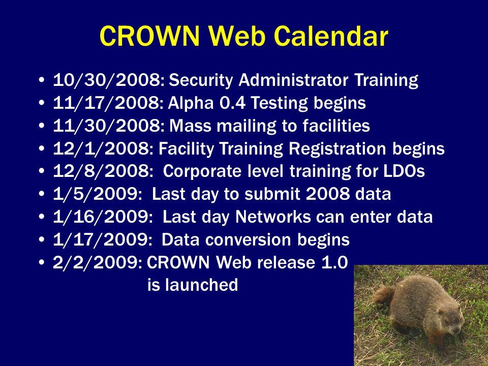 CROWN Web Calendar 10/30/2008: Security Administrator Training