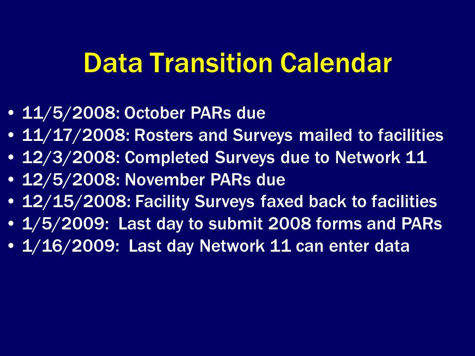 Data Transition Calendar
