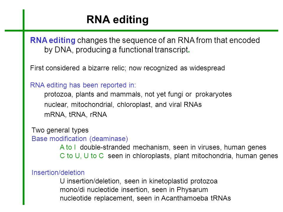 RNA editing RNA editing changes the sequence of an RNA from that encoded by DNA, producing a functional transcript.