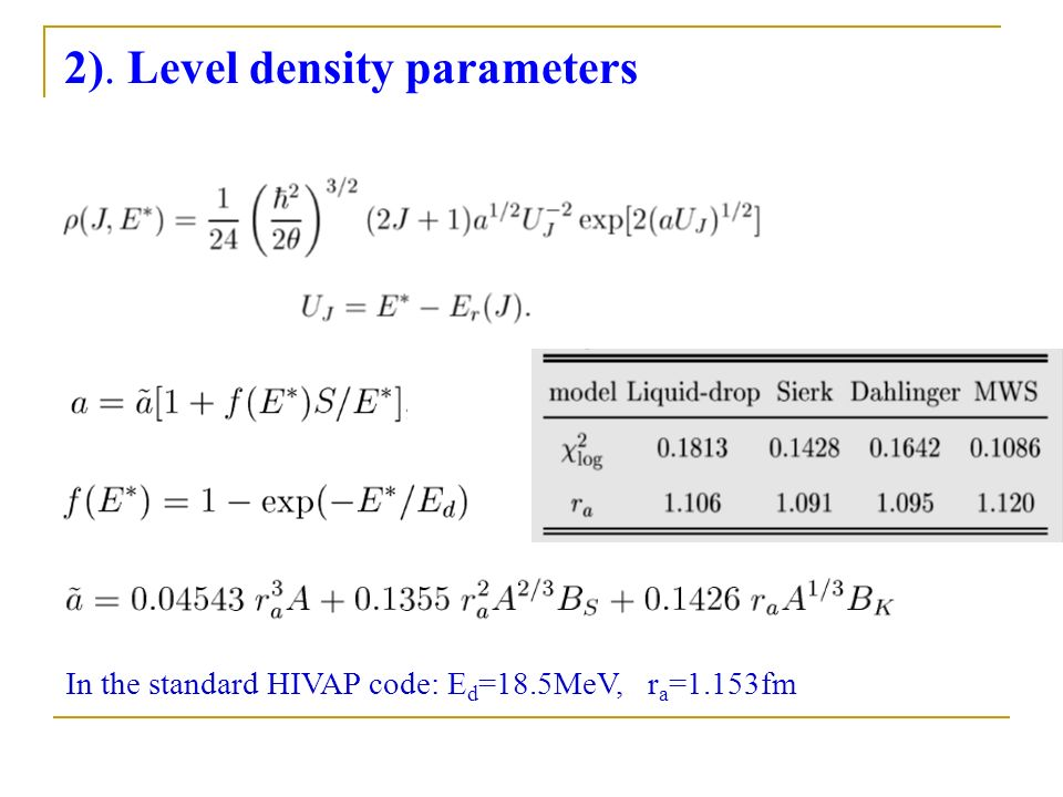 2). Level density parameters