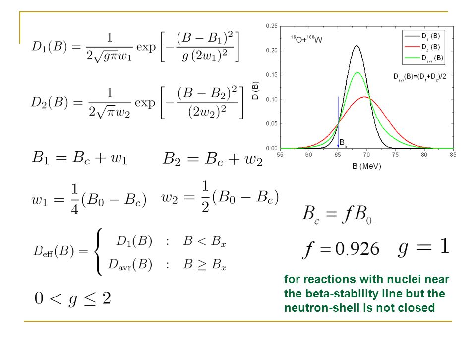 for reactions with nuclei near the beta-stability line but the neutron-shell is not closed