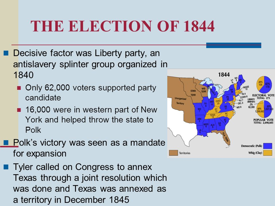 THE ELECTION OF 1844 Decisive factor was Liberty party, an antislavery splinter group organized in 1840.