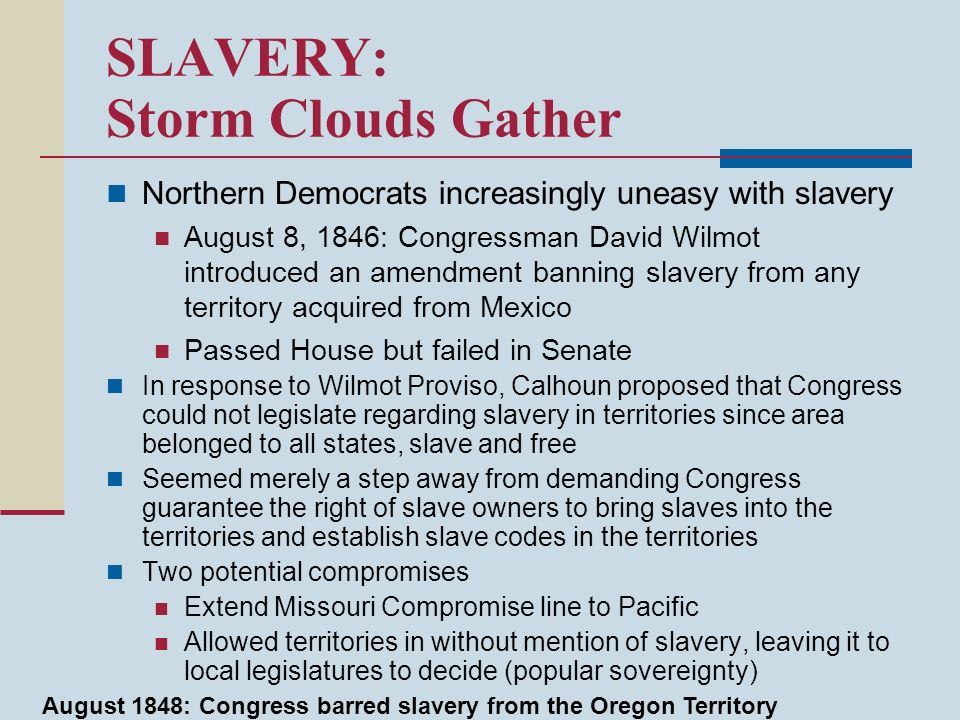SLAVERY: Storm Clouds Gather