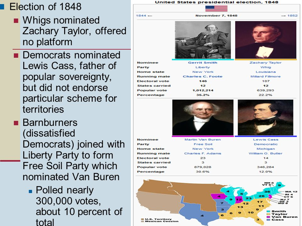 Election of 1848 Whigs nominated Zachary Taylor, offered no platform.