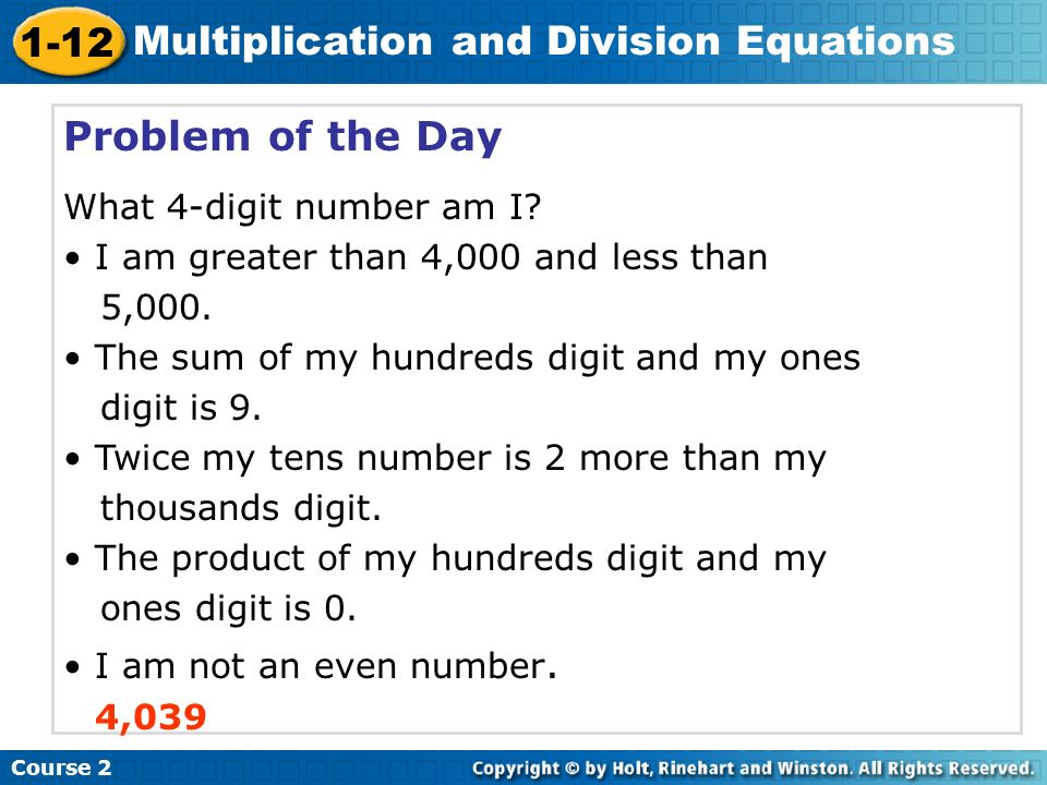 Problem of the Day What 4-digit number am I