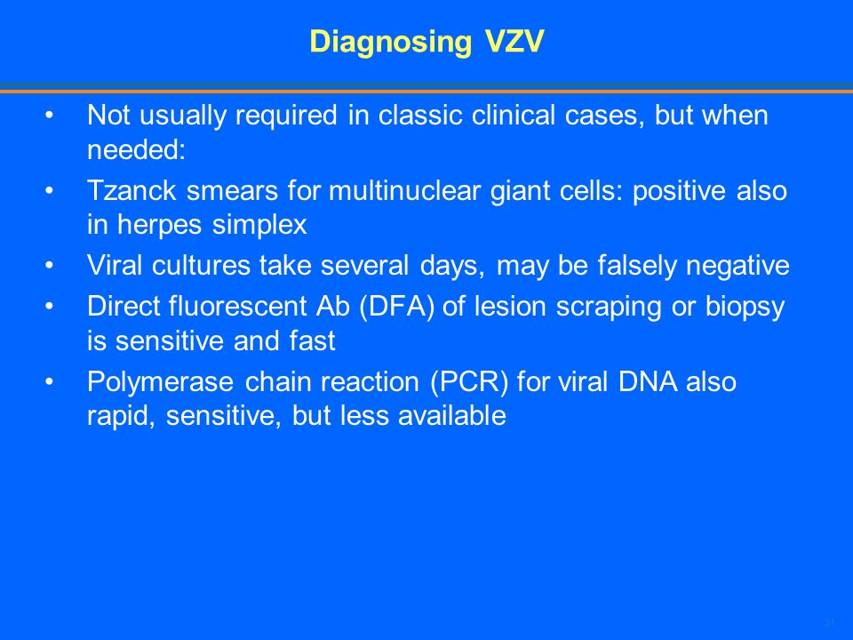 Diagnosing VZV Not usually required in classic clinical cases, but when needed: