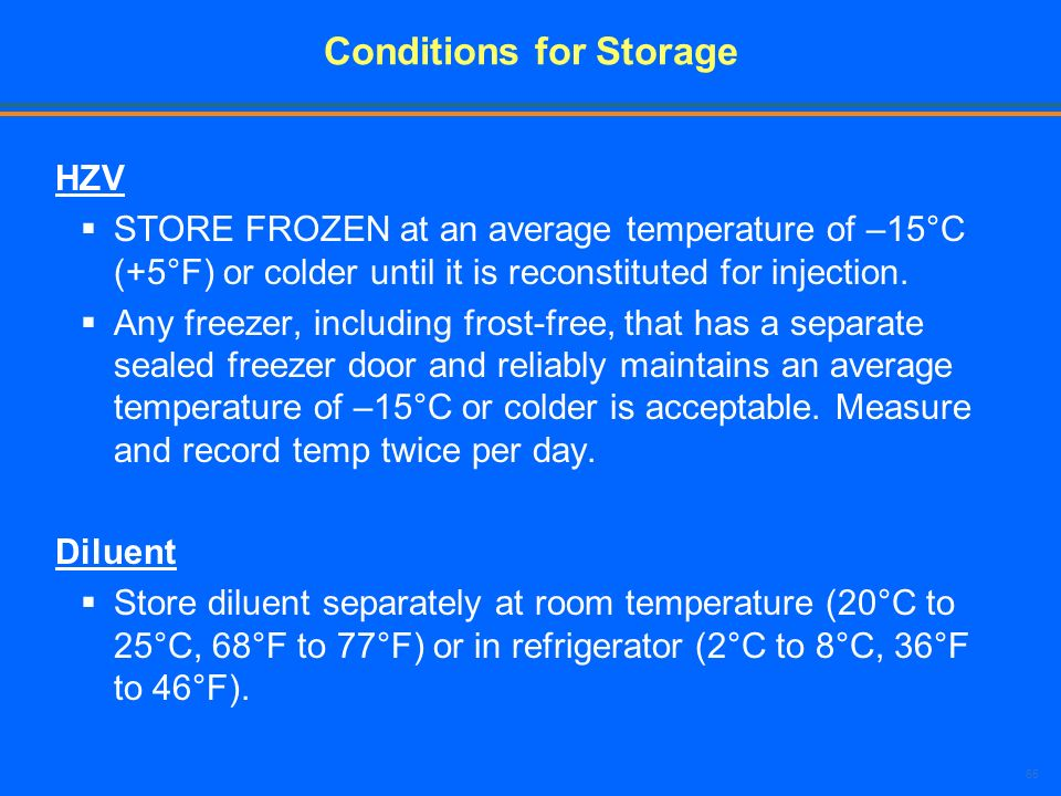 Conditions for Storage