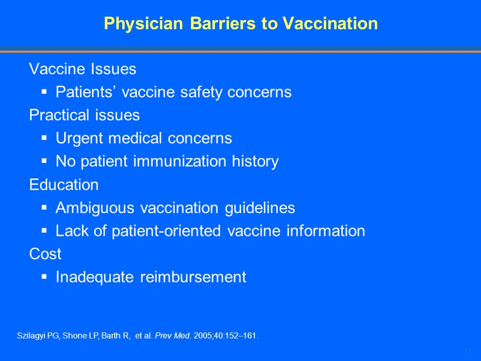 Physician Barriers to Vaccination