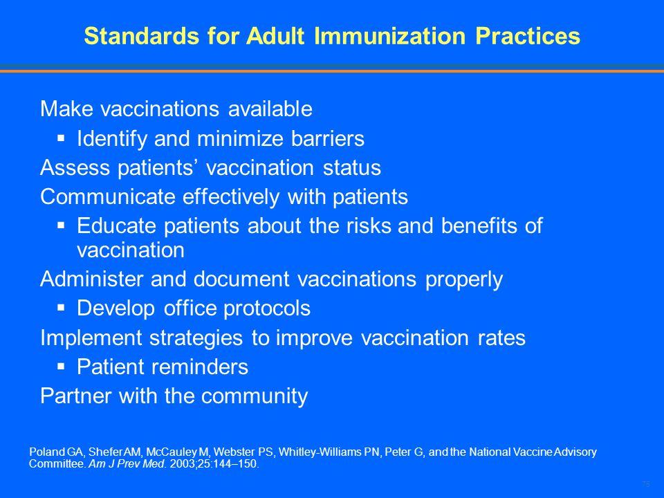 Standards for Adult Immunization Practices