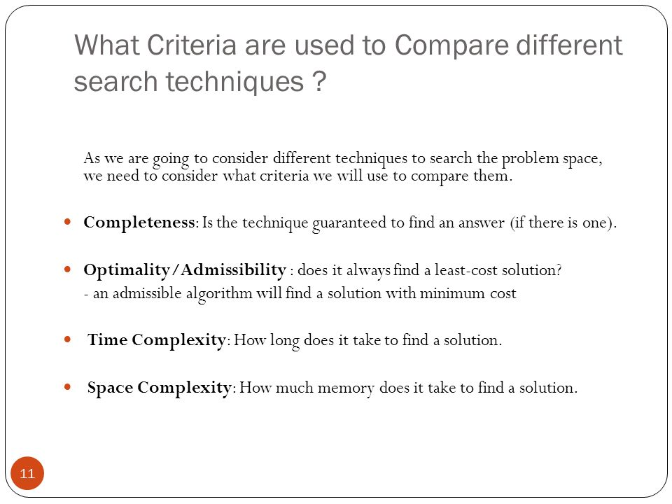 What Criteria are used to Compare different search techniques