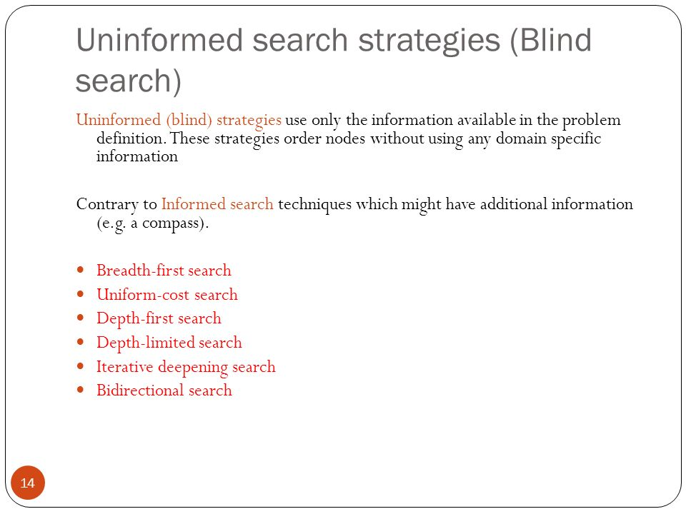 Uninformed search strategies (Blind search)