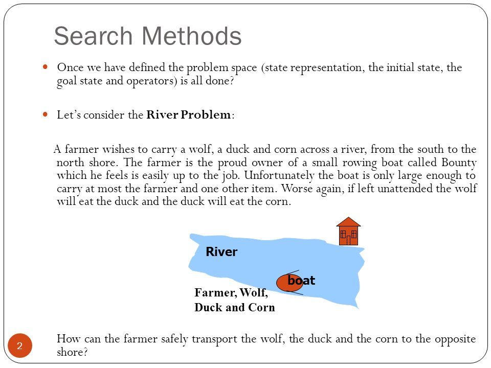 Search Methods Once we have defined the problem space (state representation, the initial state, the goal state and operators) is all done