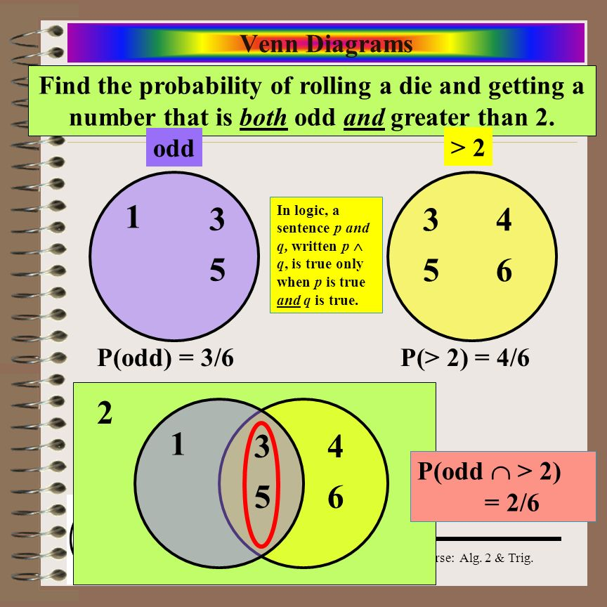 Venn Diagrams Find the probability of rolling a die and getting a number that is both odd and greater than 2.
