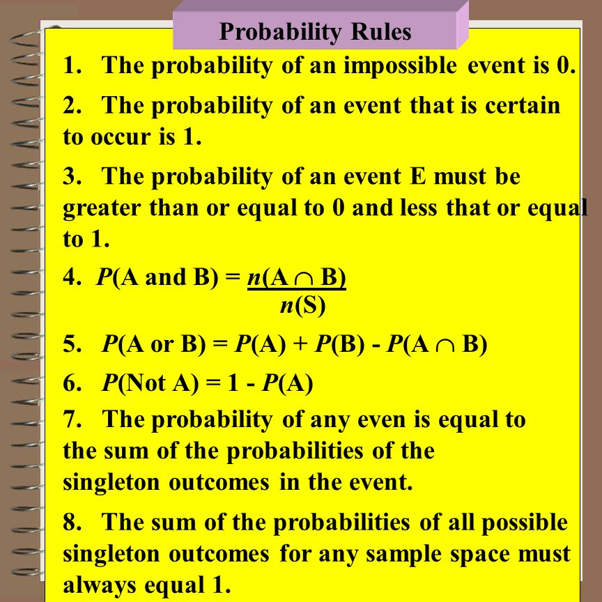 Probability Rules 1. The probability of an impossible event is 0. 2. The probability of an event that is certain to occur is 1.