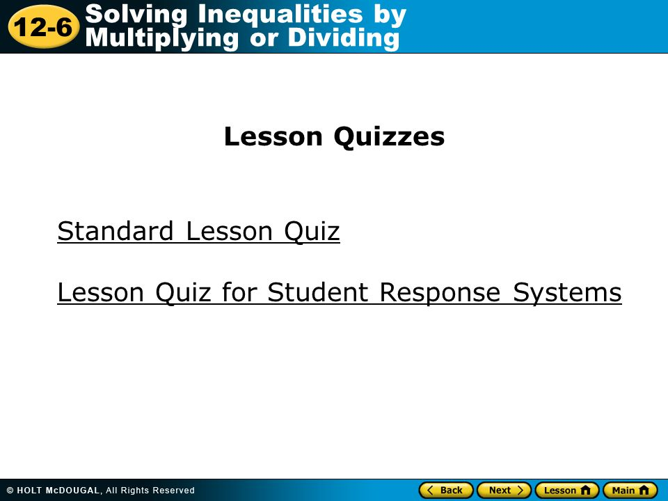 Lesson Quizzes Standard Lesson Quiz Lesson Quiz for Student Response Systems