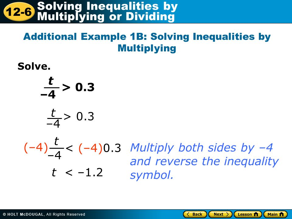 Additional Example 1B: Solving Inequalities by Multiplying