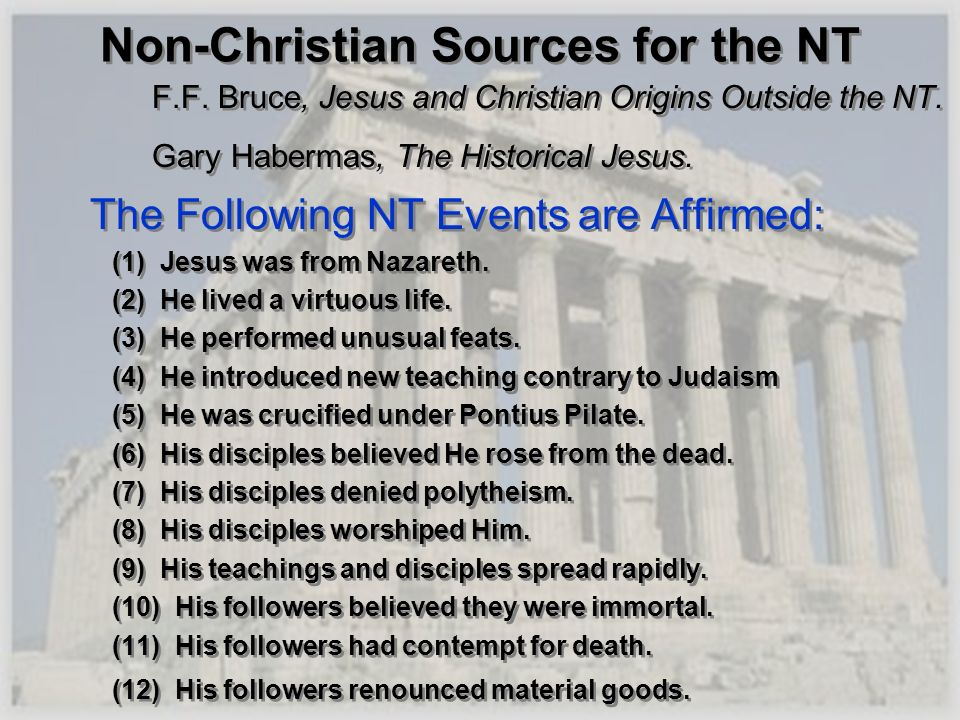Non-Christian Sources for the NT