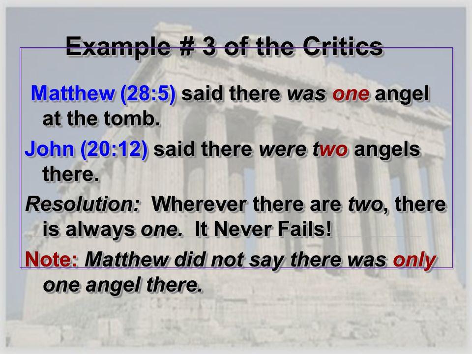 Example # 3 of the Critics