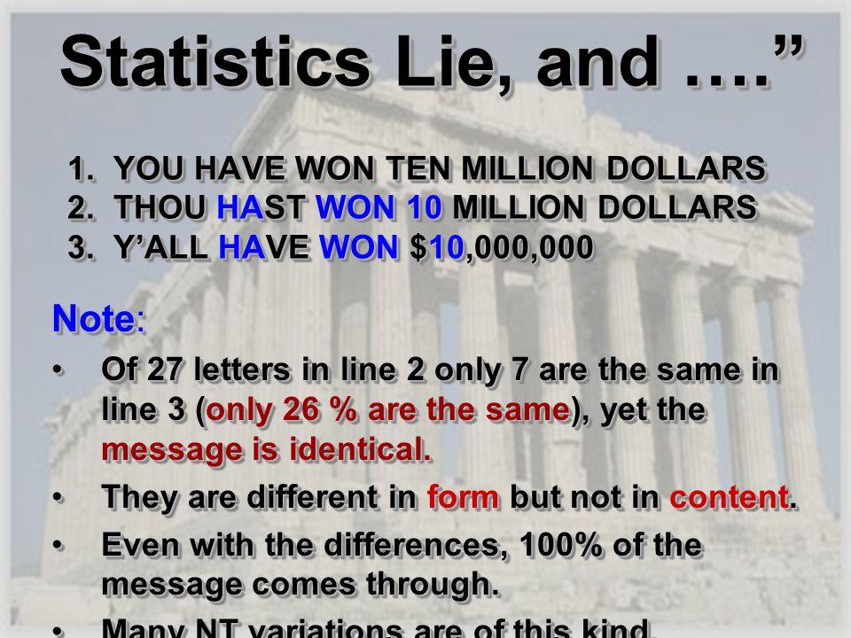 Statistics Lie, and …. 1. YOU HAVE WON TEN MILLION DOLLARS 2