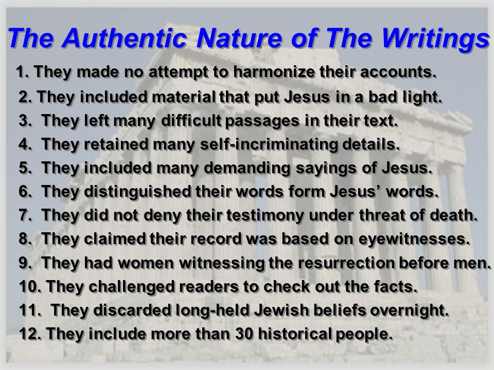 The Authentic Nature of The Writings