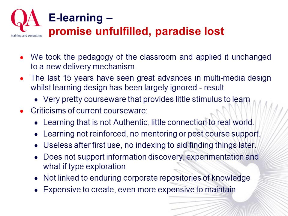 E-learning – promise unfulfilled, paradise lost